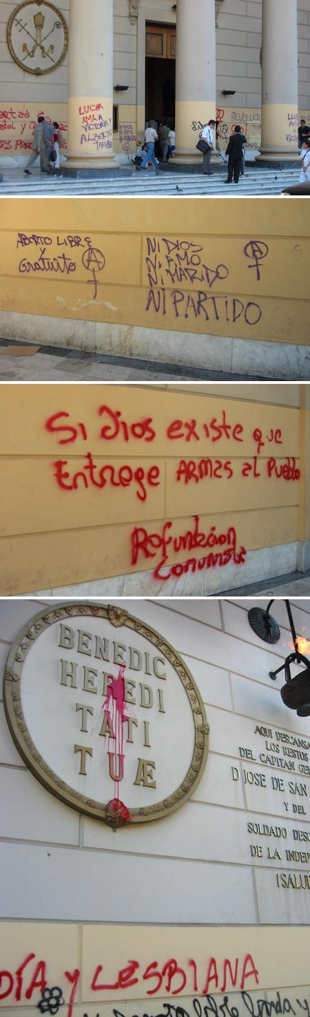Argentina, Buenos Aires, Plaza de Mayo, catedral, Communist, graffiti