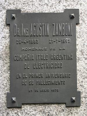 Agustín Zamboni, Cementerio de la Recoleta, placa