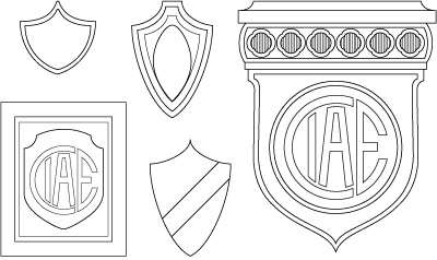 CIAE architecture, Buenos Aires, coats-of-arms vector