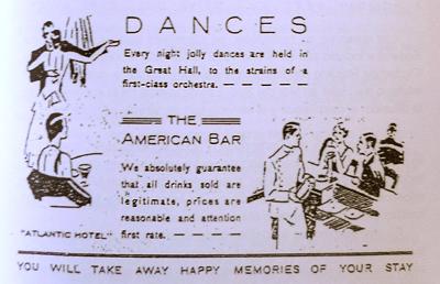 Mar del Sur, Boulevard Atlantic Hotel, dancing advertisement
