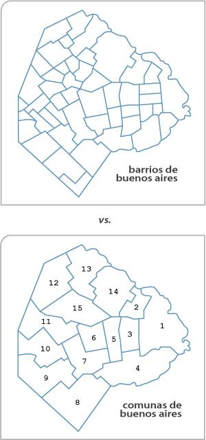 Buenos Aires, barrios map, comunas map