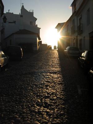 Portugal, Évora, sunrise, cobblestones