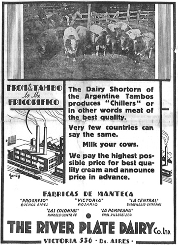 Argentina, River Plate Dairy Co advert, 1932