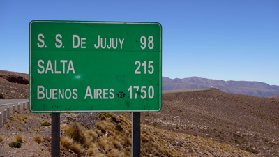 Argentina, Jujuy, road sign