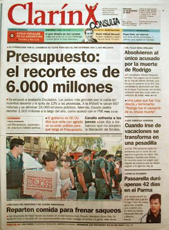 Tapa Clarín, 19 diciembre 2001