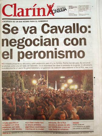 Tapa Clarín, 20 diciembre 2001