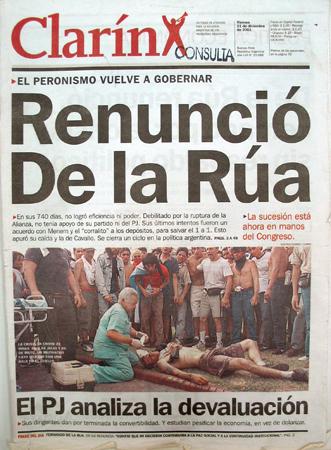 Tapa Clarín, 21 diciembre 2001