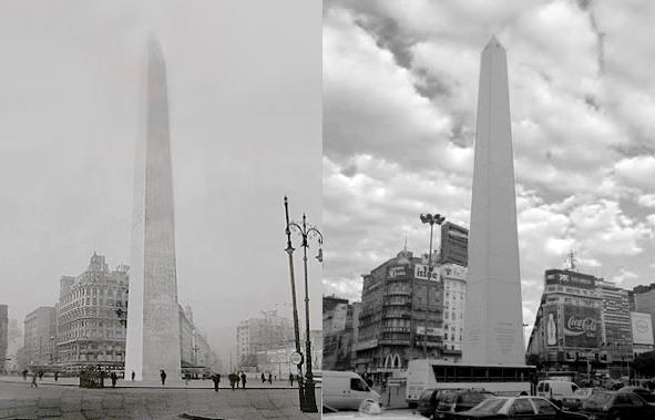 Buenos Aires, Obelisco, then & now
