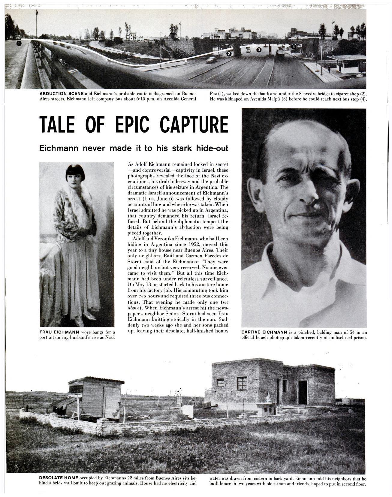 LIFE magazine, date, Eichmann capture