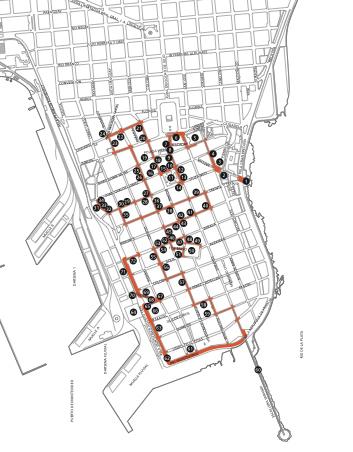 Montevideo, Ciudad Vieja, architecture map