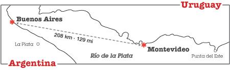 Distance between Buenos Aires & Montevideo