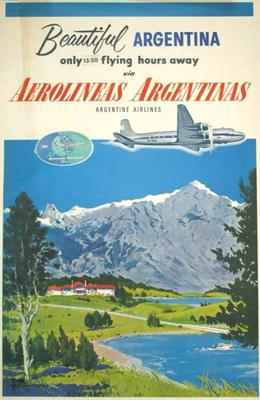 Argentina, travel poster, Bariloche, Aerolíneas Argentinas