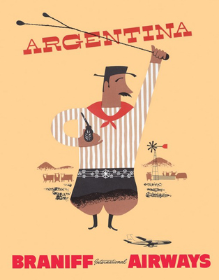 Argentina, travel poster, Braniff, gaucho