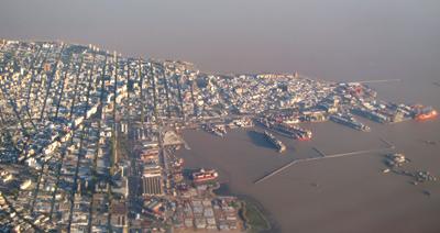 Uruguay, Montevideo, aerial view, Ciudad Vieja, Avenida Lavalleja, La Aguada