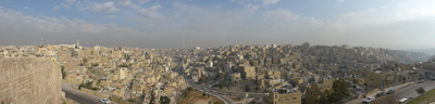 Jordan, Amman, citadel, panorama city view
