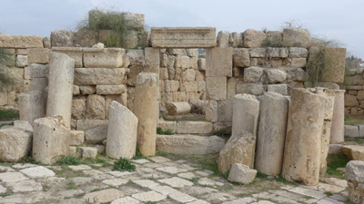 Jordan, Jerash, Roman ruins, store front