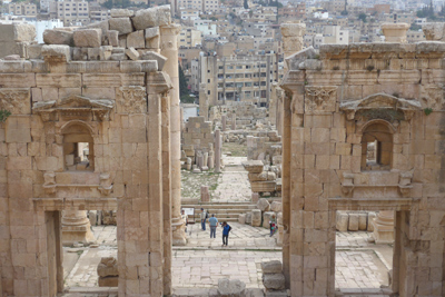 Jordan, Jerash, Roman ruins, entrance gate to Temple of Artemis