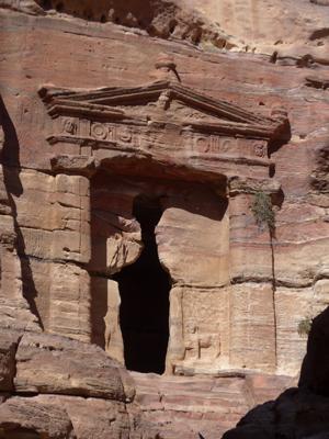 Jordan, Petra, climb to Ad Deir, tomb entrance