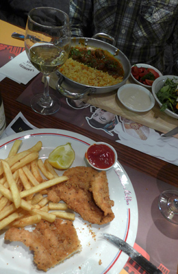 Israel, Jerusalem, First Railway Station, Landwer's, chicken schnitzel, food