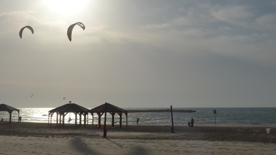 Israel, Tel Aviv, beach promenade, paragliding