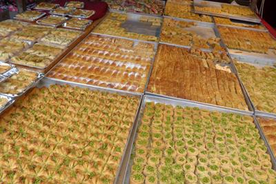 Israel, Tel Aviv, Carmela Market, pastries, baklava