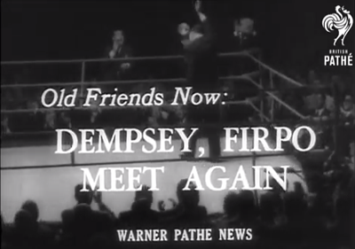 British Pathé newsreel capture, Dempsey & Firpo meet again