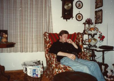 Robert Wright, Moulton, Iowa, asleep