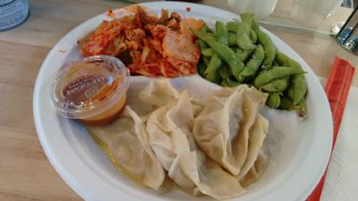 USA, Iowa, Cedar Rapids, Newbo City Market, Korean, dumplings