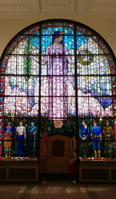 USA, Iowa, Cedar Rapids, Veteran's Memorial, stained glass, Grant Wood