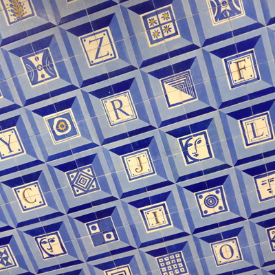 Portugal, Lisboa, Metro, subway, linha azul, tiles, azulejos, Colégio Militar/Luz, Manuel Cargaleiro