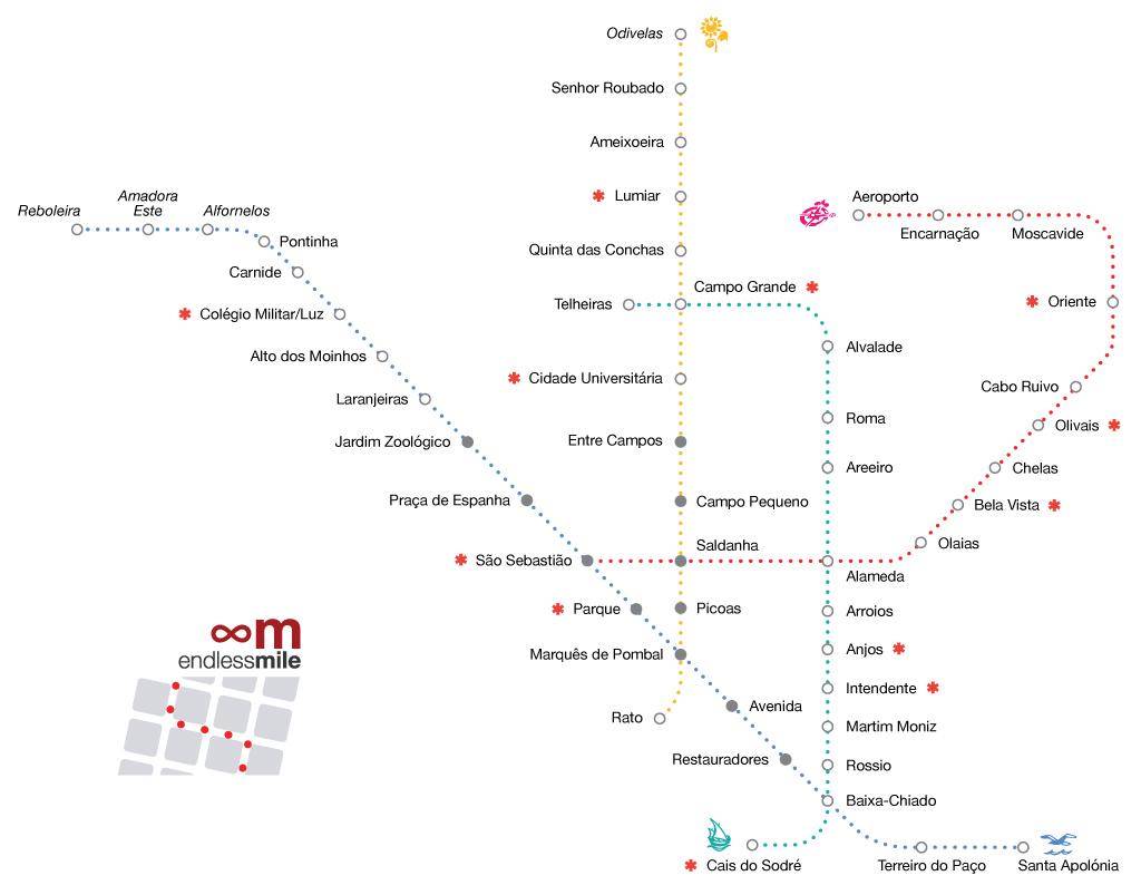 Subway Map Of Lisbon.Lisboa Metro Tiles Endless Mile
