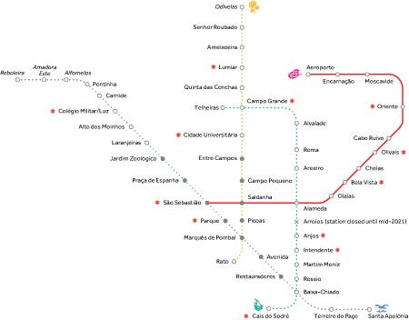Portugal, Lisboa, Metro, map, linha vermelho