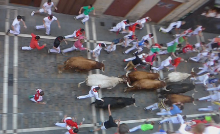 España, Spain, País Vasco, Basque Country, Pamplona, Iruña, Encierro, Running of the Bulls