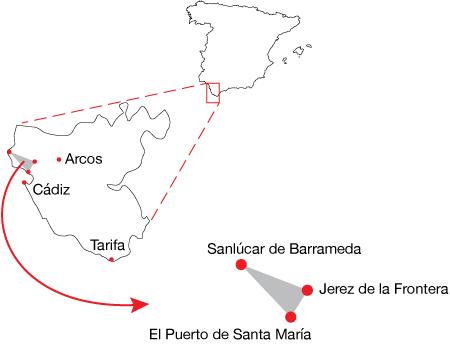 España, Spain, Andalucía, El Puerto de Santa María, region map, sherry triangle