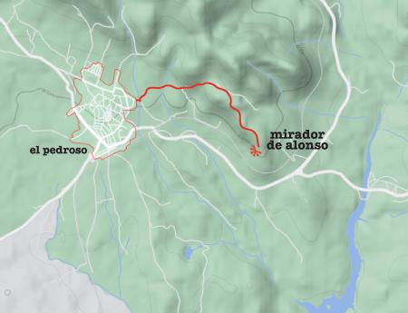 Spain, España, El Pedroso, train, hiking, Mirador de Alonso, map
